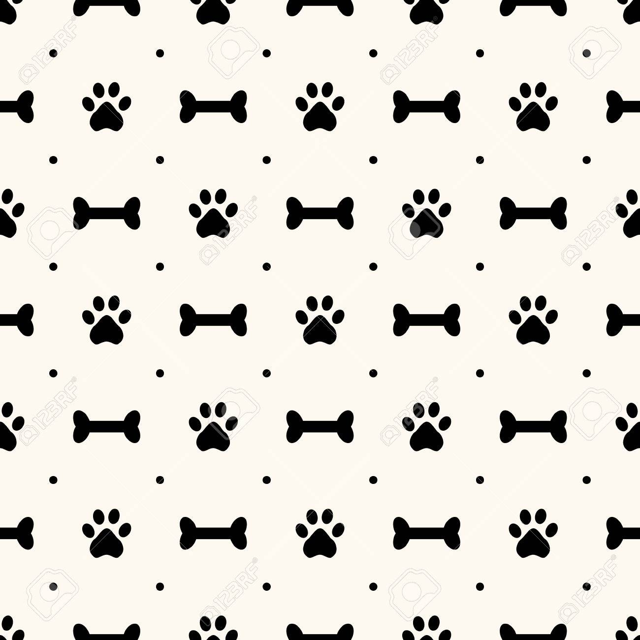 Seamless Animal Pattern Of Paw Footprint And Bone Polka Dot Can Be Used For
