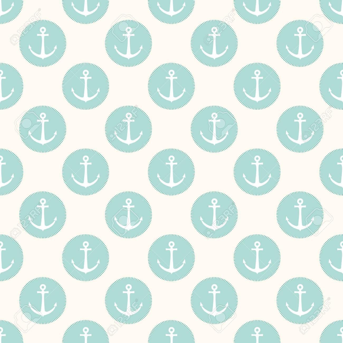 Vector Nahtlose Retro Muster Mit Ankern In Blauen Kreisen Kann Fr Tapeten