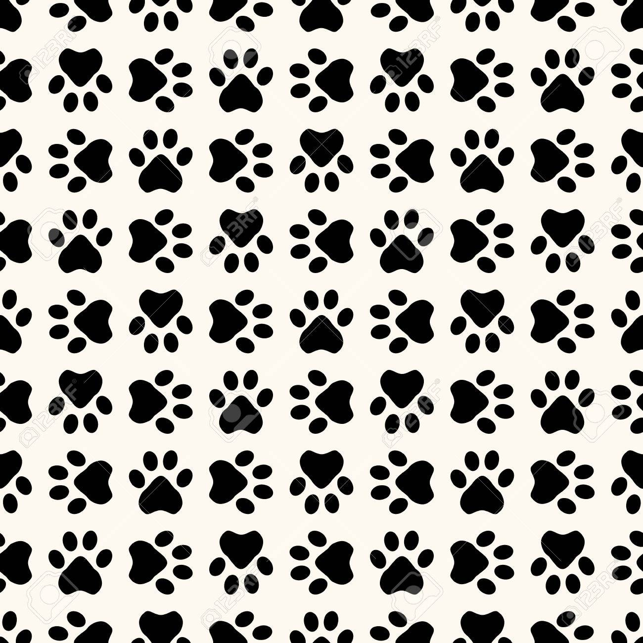 Seamless Animal Pattern Of Paw Footprint Can Be Used For Wallpaper Fills
