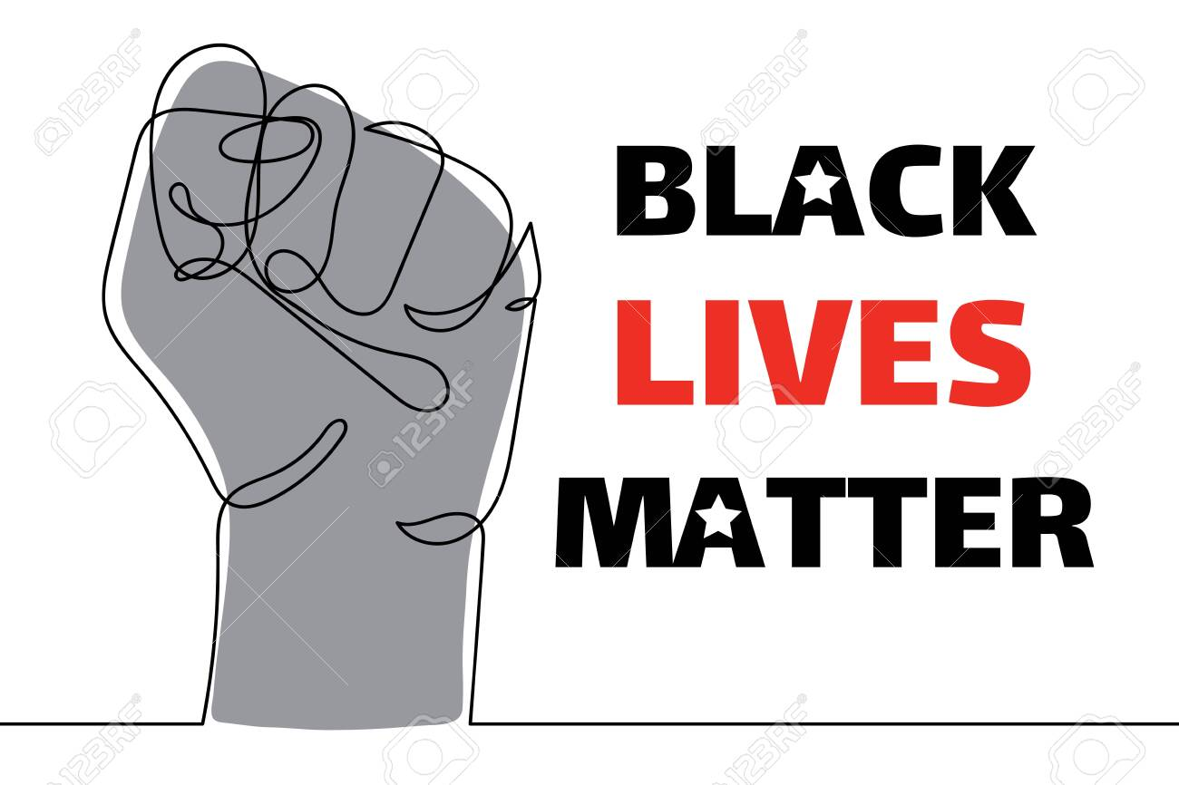 Black lives matter. Strong fist raised up, one line drawing. Continuous line drawing of human arm. Concept of equality. Vector illustration isolated on white for sticker, web, landing page, banner. - 148773715