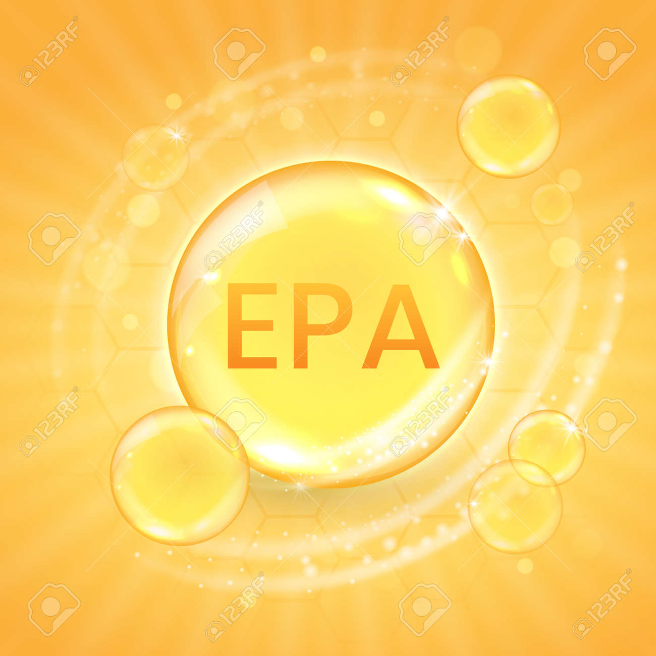 EPA from omega-3 fatty acid supplement, shiny oil vitamin capsule. Fish oil droplet design template for advertisement or branding. Realistic vector illustration of golden essence bubble - 164779779