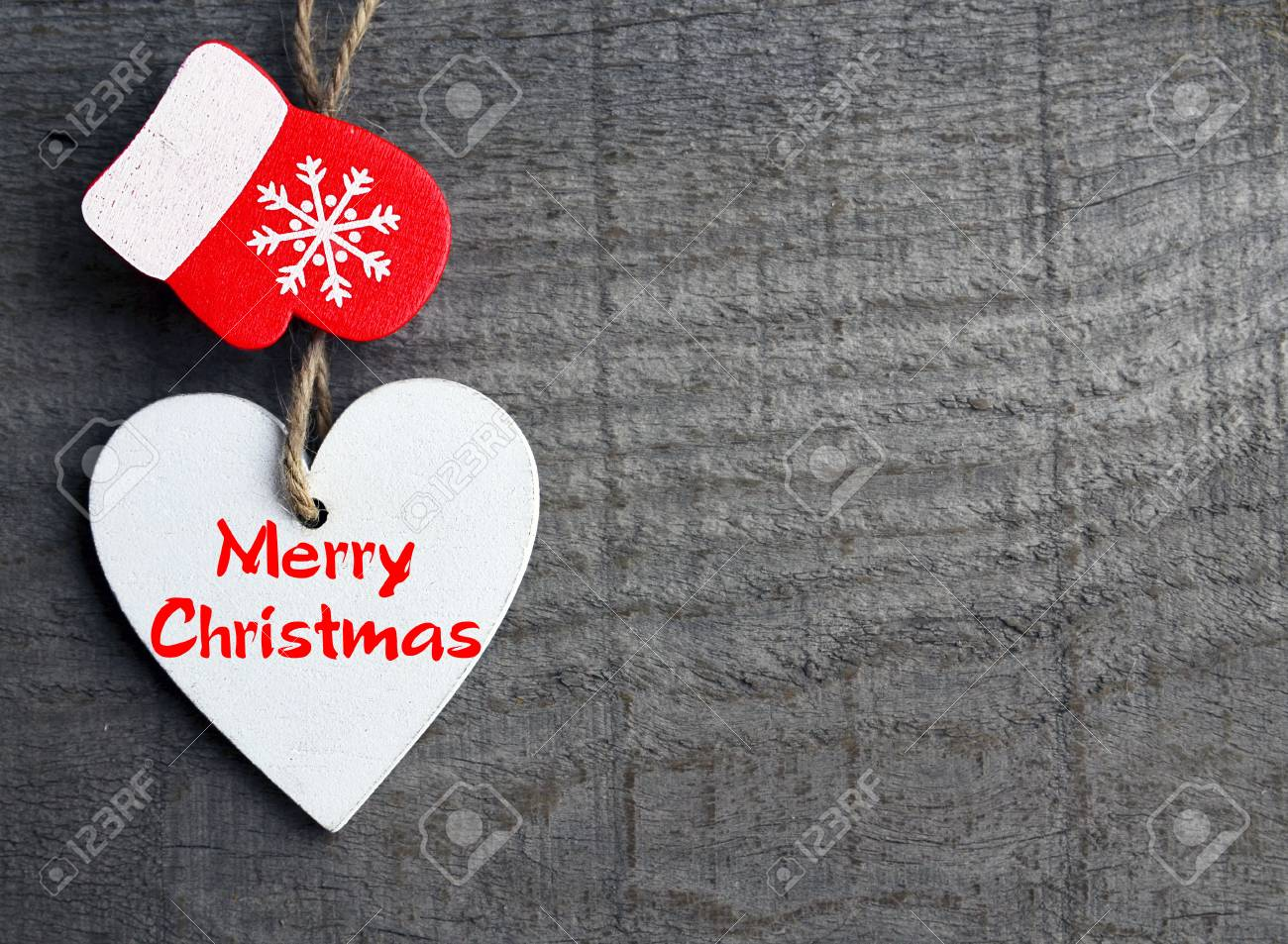 Merry Christmas.Decorative White Wooden Christmas Heart And Red ...