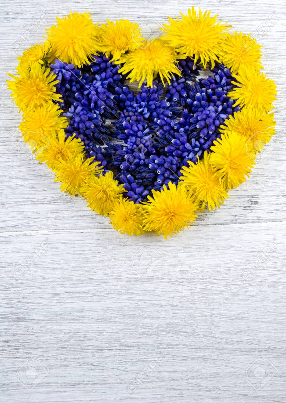 Heart Of Flowers Blue And Yellow Flowers On A Table In The Shape