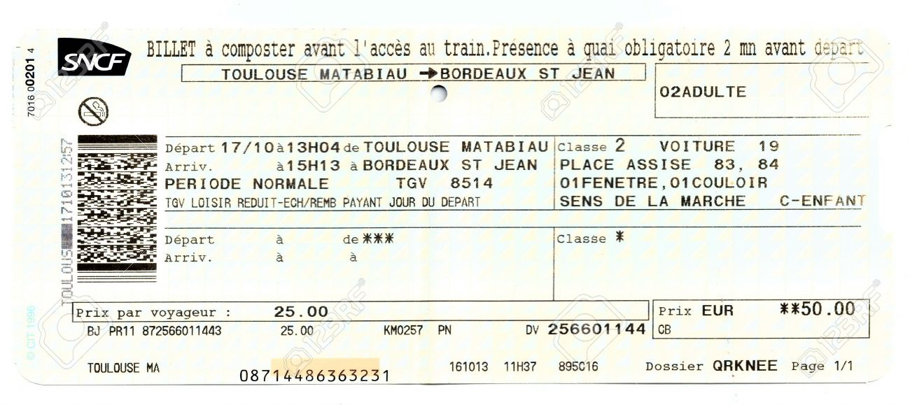 Train ticket SNCF (French National Railway Company). Toulouse - Bordeaux, France - 32911986