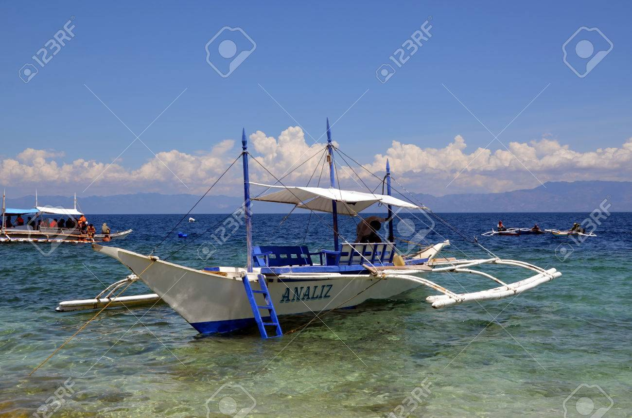 bangka boat in the ocean in moalboal philippines cebu island stock