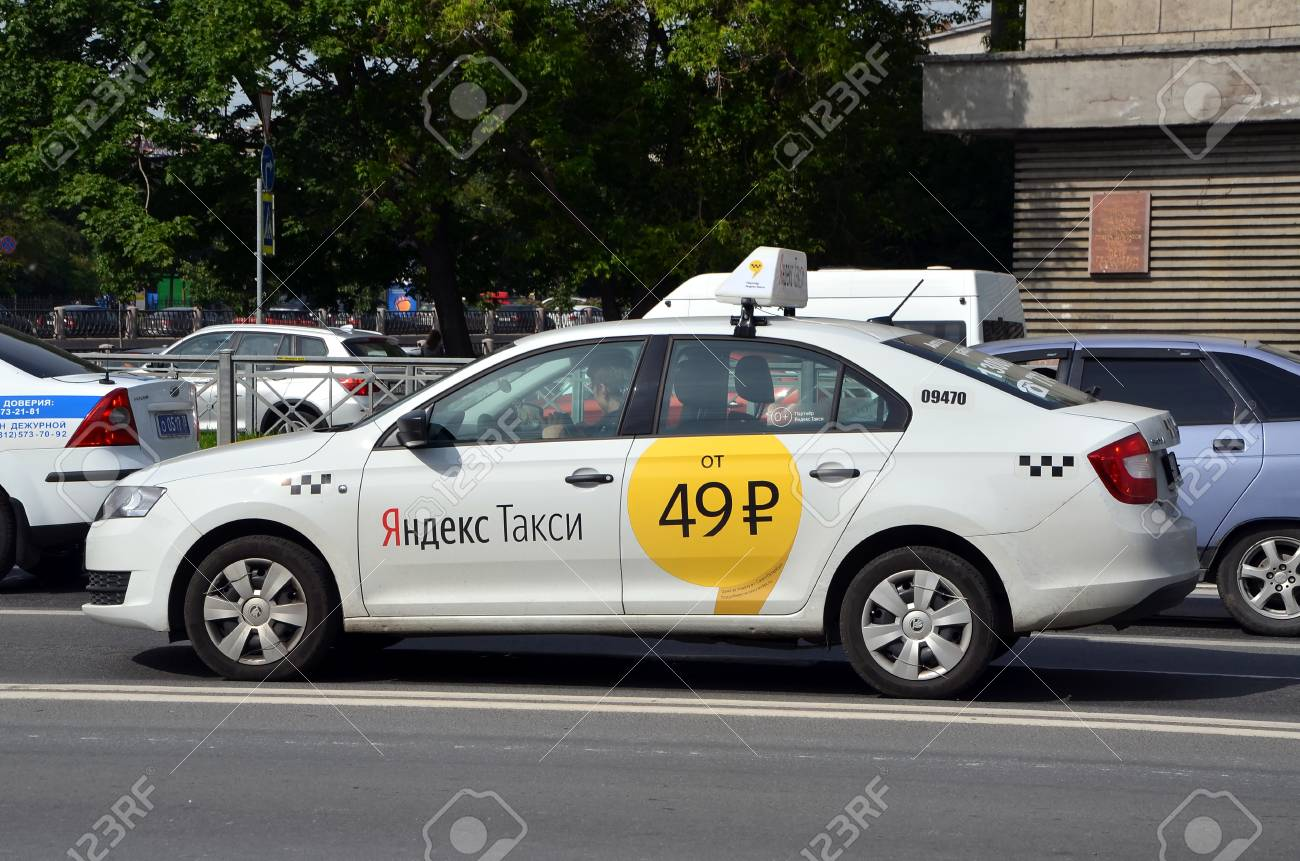 SAINT-PETERSBURG, RUSSIA - JULY 11, 2017 - Yandex Taxi on the