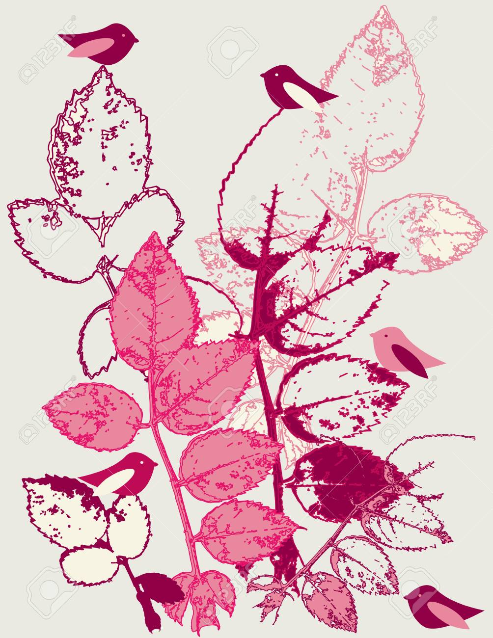 Leaves and birds design Stock Vector - 3891785