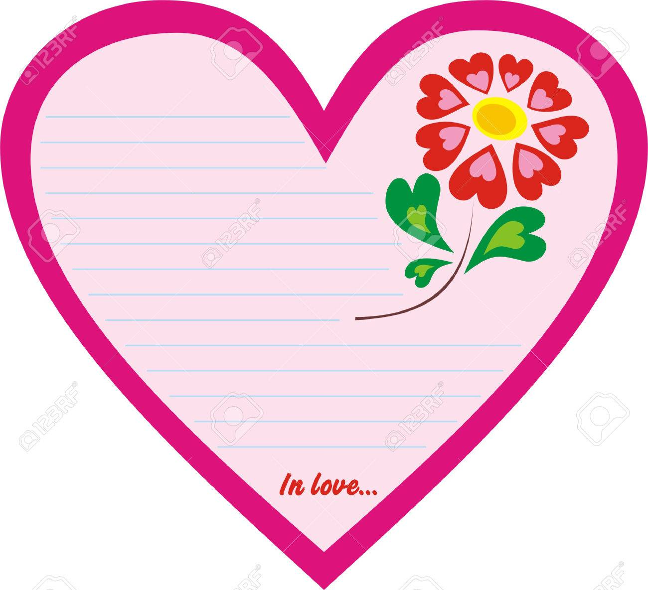 valentine postcard with love letters and flowers royalty free