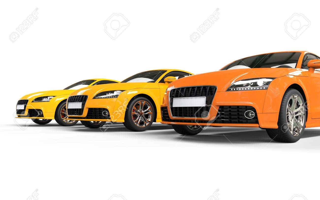 Cool Orange Cars On White Background Stock Photo Picture And - Cool yellow cars
