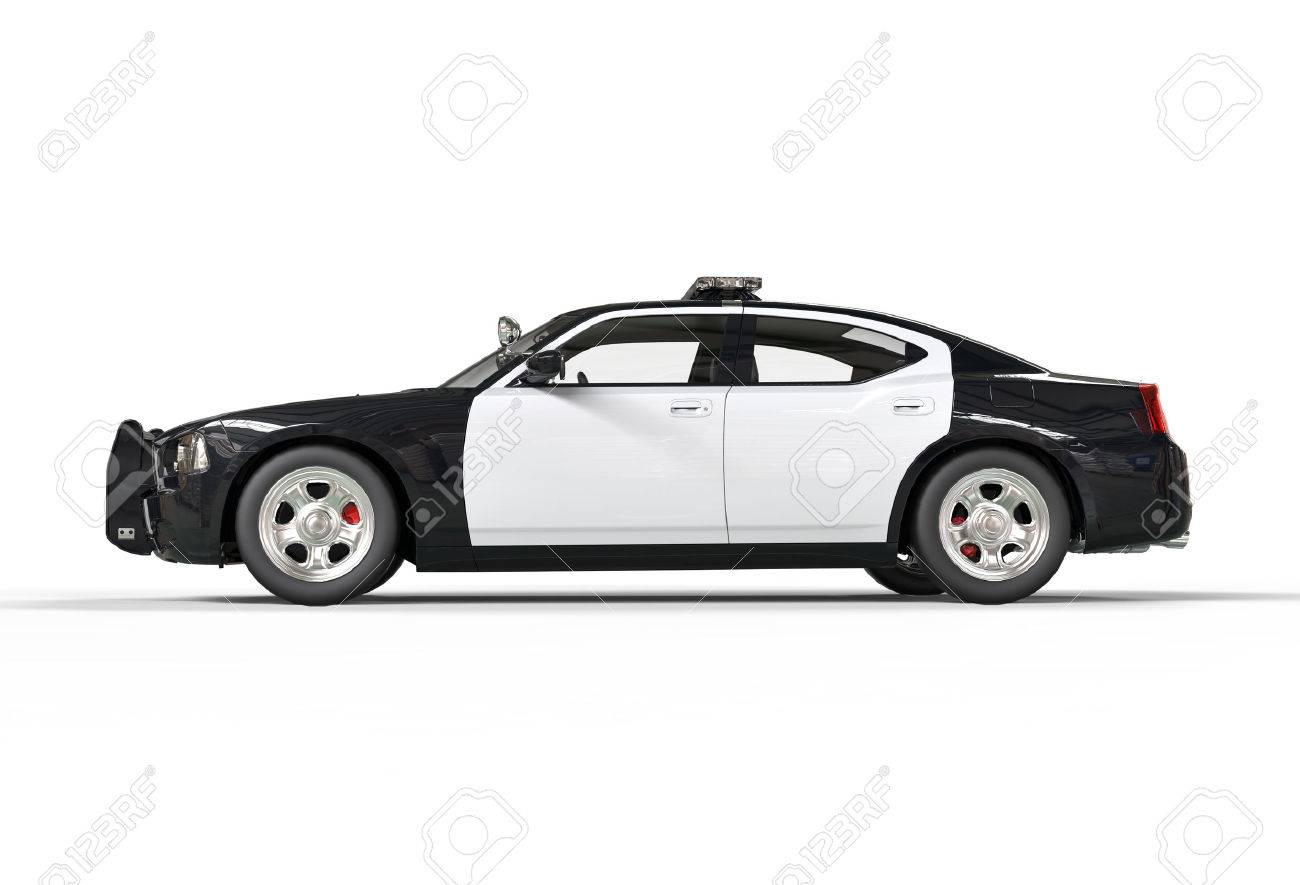 Police car without decals on white background image shot in ultra high resolution stock