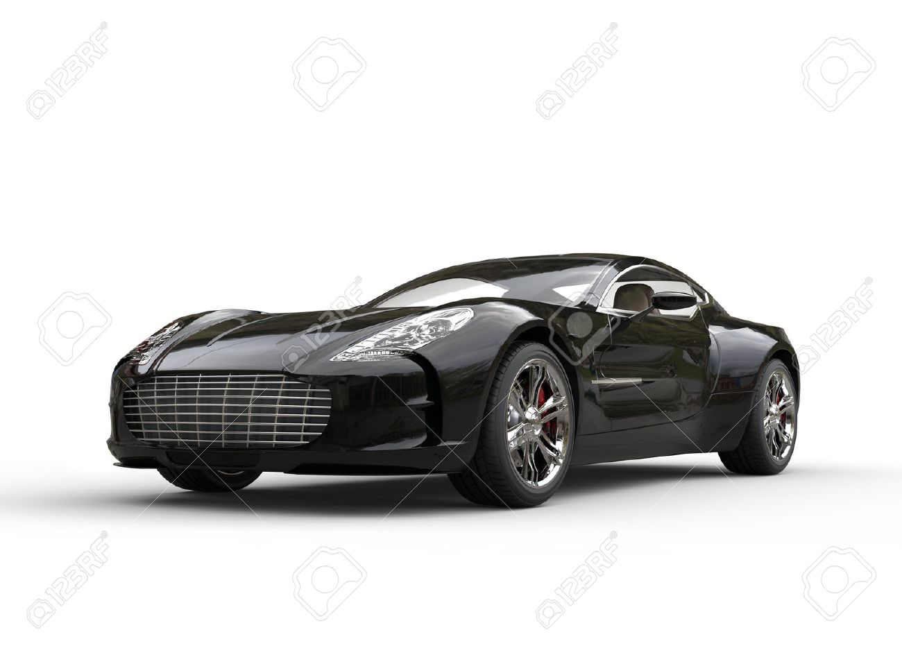 Black Luxury Sports Car On White Background. Image Shot In Ultra High  Resolution. Stock
