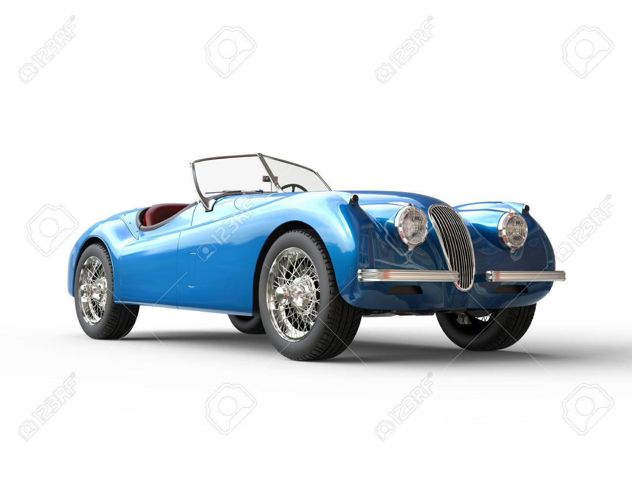 Bright Blue Vintage Car On White Background Image Shot In Ultra