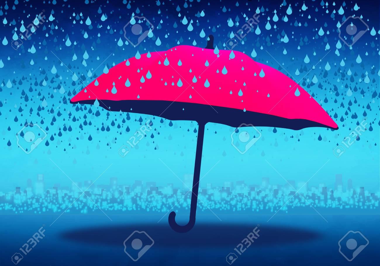 3674843a63669 Cartoony Skyline Background with pink umbrella and rain Stock Photo -  110191351