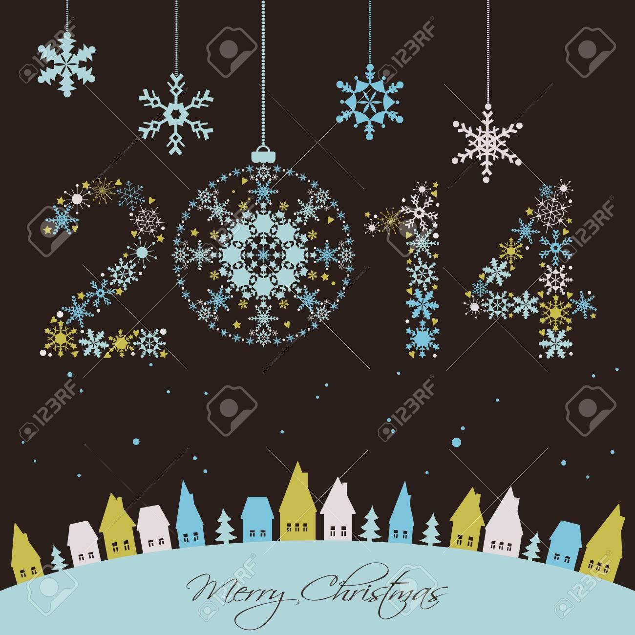 2014 Neues Jahr Frohe Feiertage Hintergrund Mit Schneeflocken ...