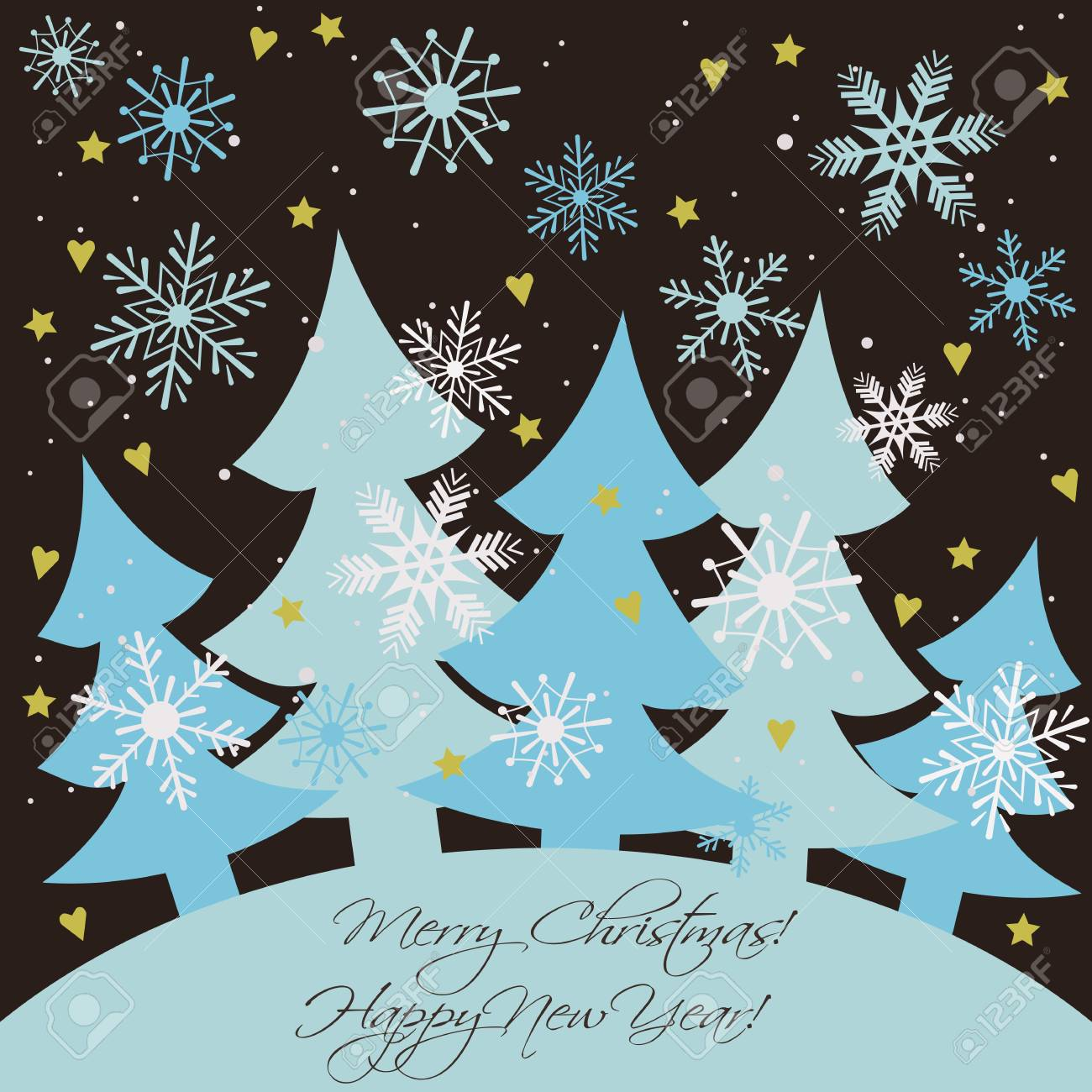 Christmas And New Year Card Happy Holidays Background With Firs