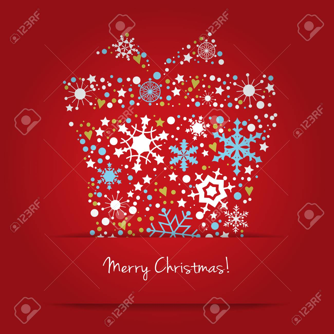 Bright Christmas Gift Box With Wishes Made From Snowflake Stylized Royalty Free Cliparts Vectors And Stock Illustration Image 34211681