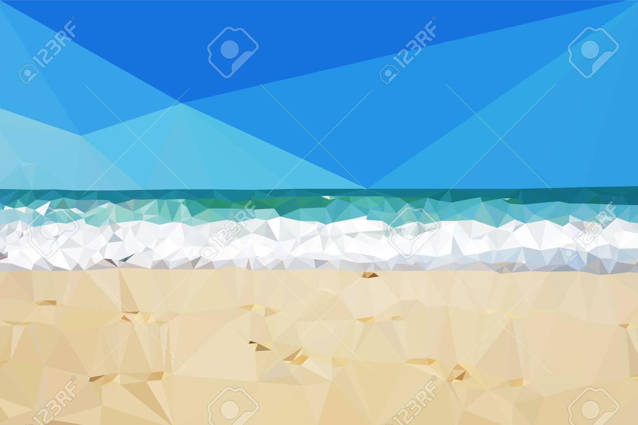 Vettoriale Vettore Low Poly Spiaggia Giorno Sfondo Mare E Sabbia