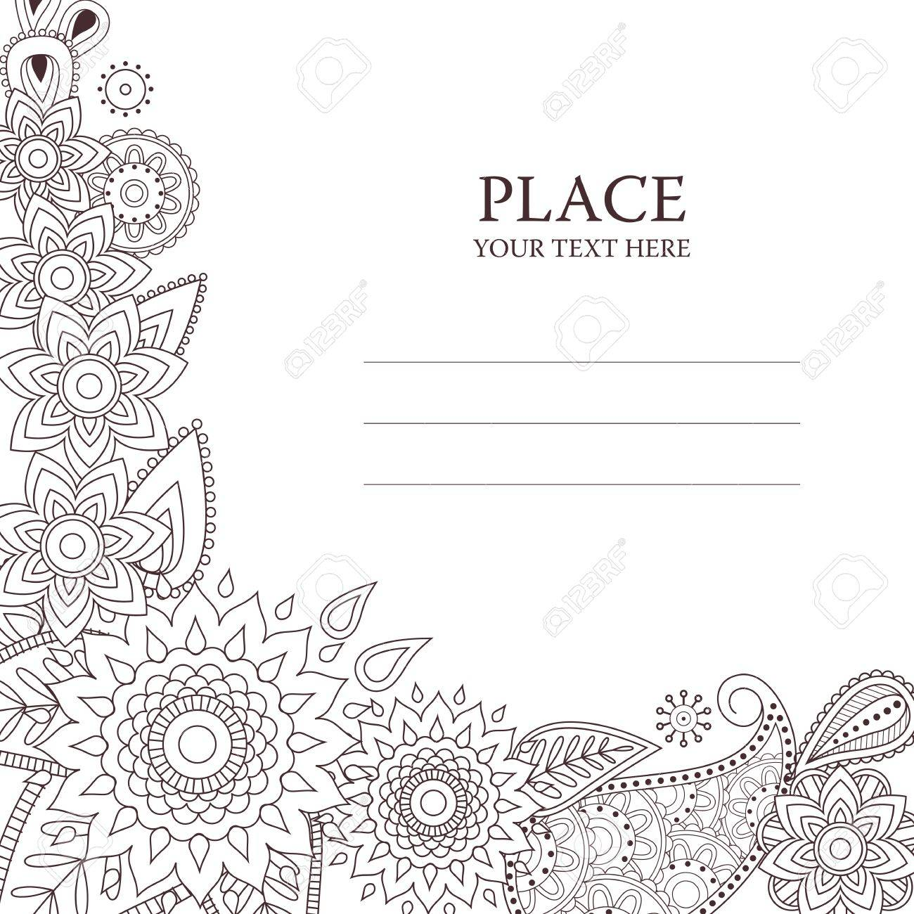Invitation Card With Floral Paisley Pattern Beautiful Vector Elements In Indian Mehndi Style