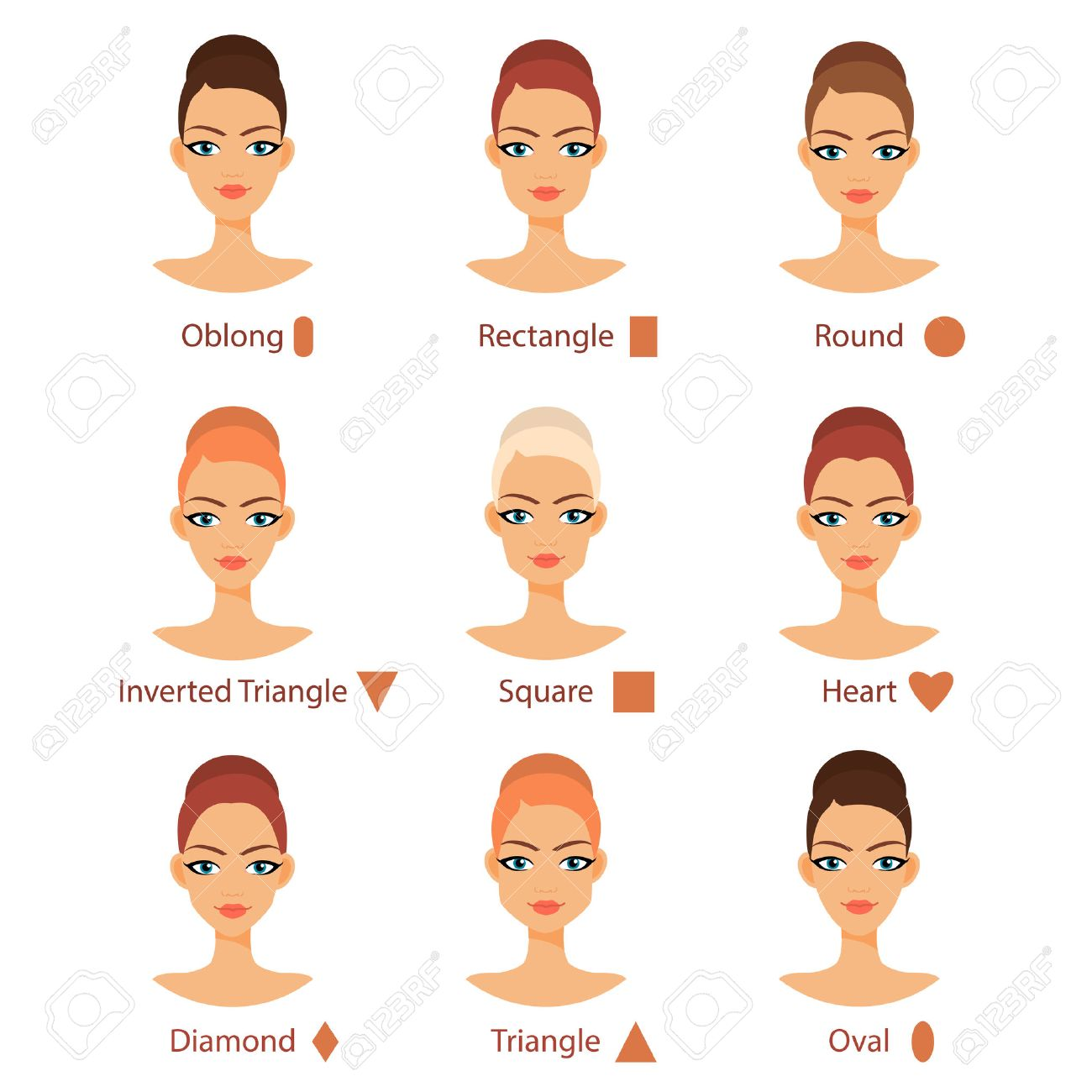 Prime Vector Set Of Different Womans Face Types Female Face Shapes Schematic Wiring Diagrams Amerangerunnerswayorg