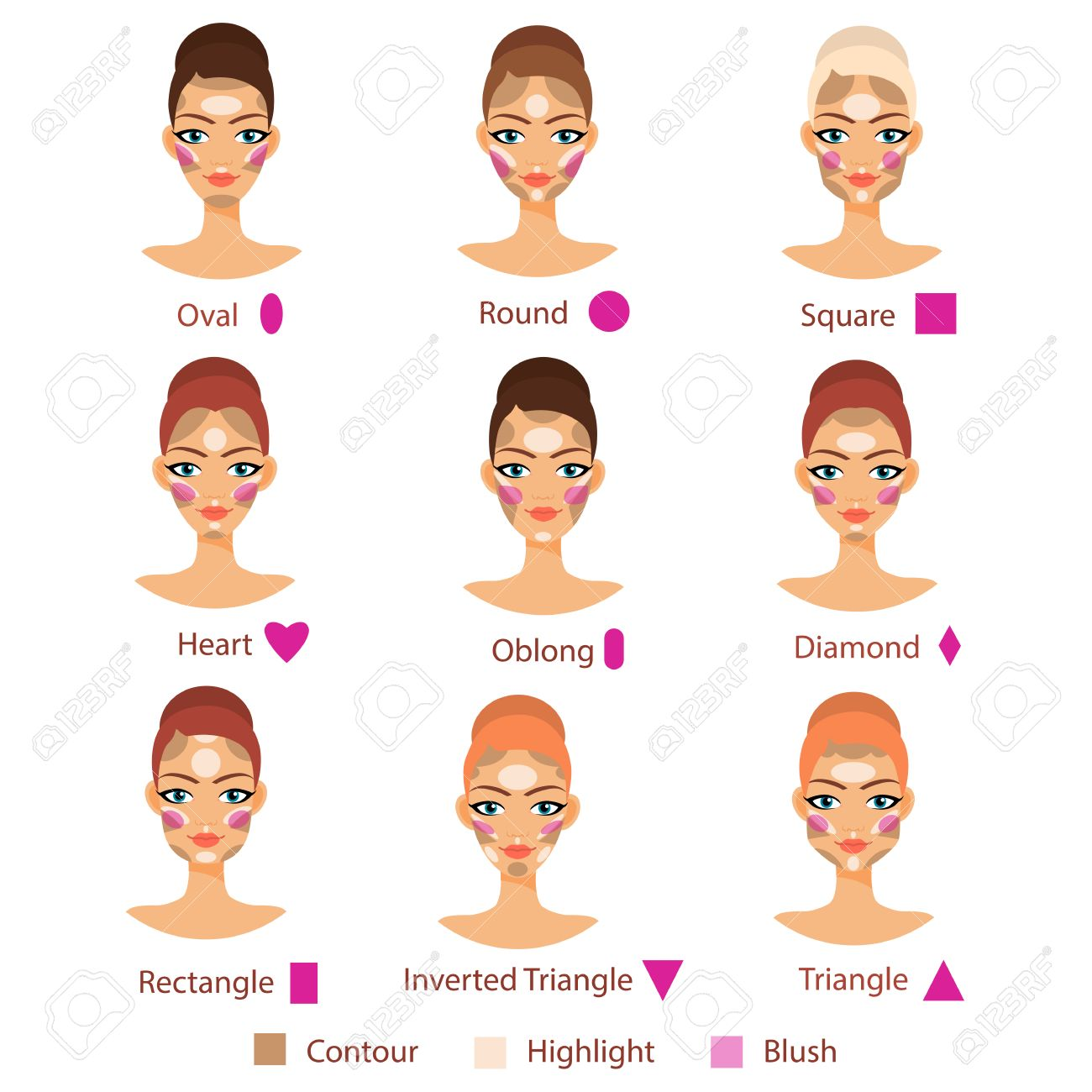 Highlight, contour and blush for different female face shape. Basic of contouring. Highlighting and contouring. Face types for beauty. - 59066176