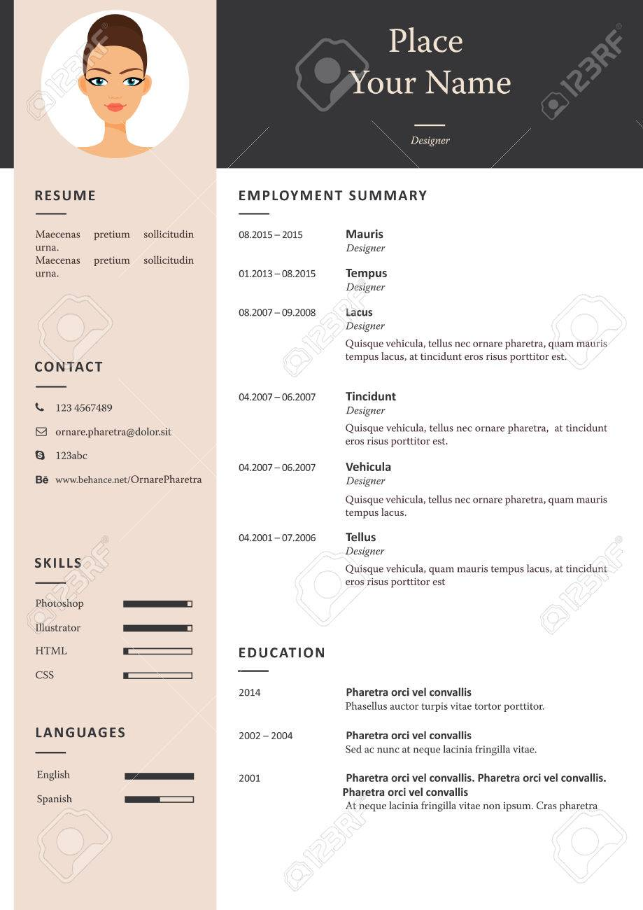 Vector Minimalist Cv Or Resume Template In Pale Color Royalty Free
