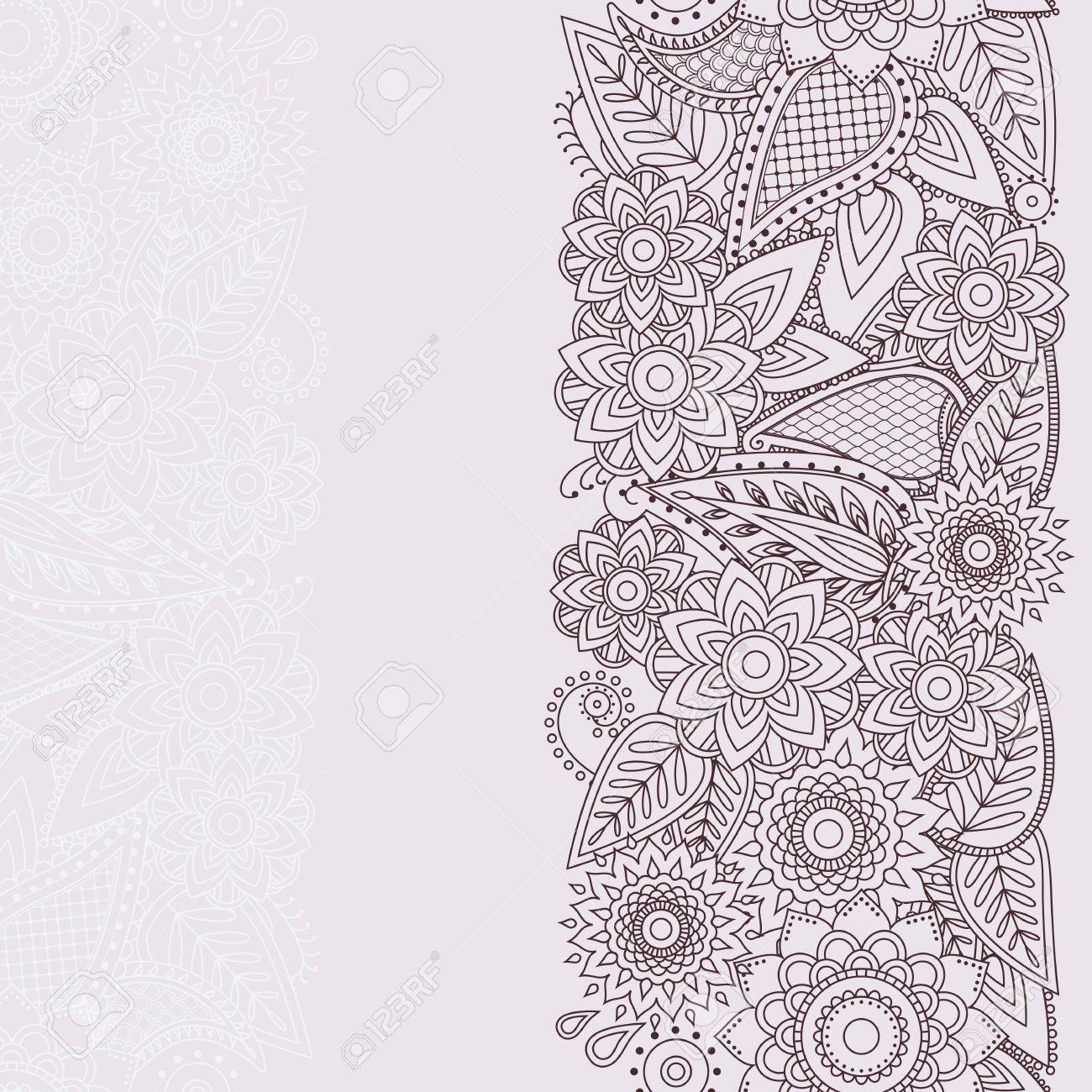 Henna flowers mehndi design vector element with text place for henna flowers mehndi design vector element with text place for invitations and cards paisley doodle seamless vector pattern beautiful floral elements in stopboris Gallery