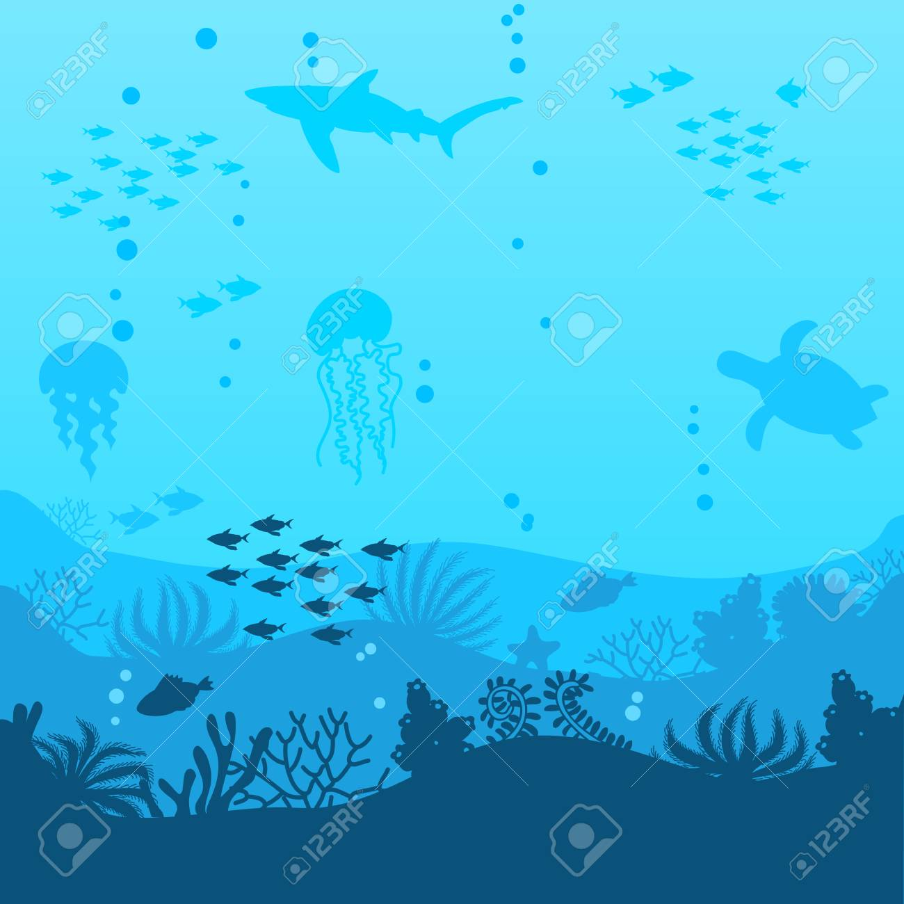 a beautiful underwater scene a vector seascape with reef a marine sea bottom silhouette with seaweed, algae and coral hand drawn realistic ocean background - 111775904