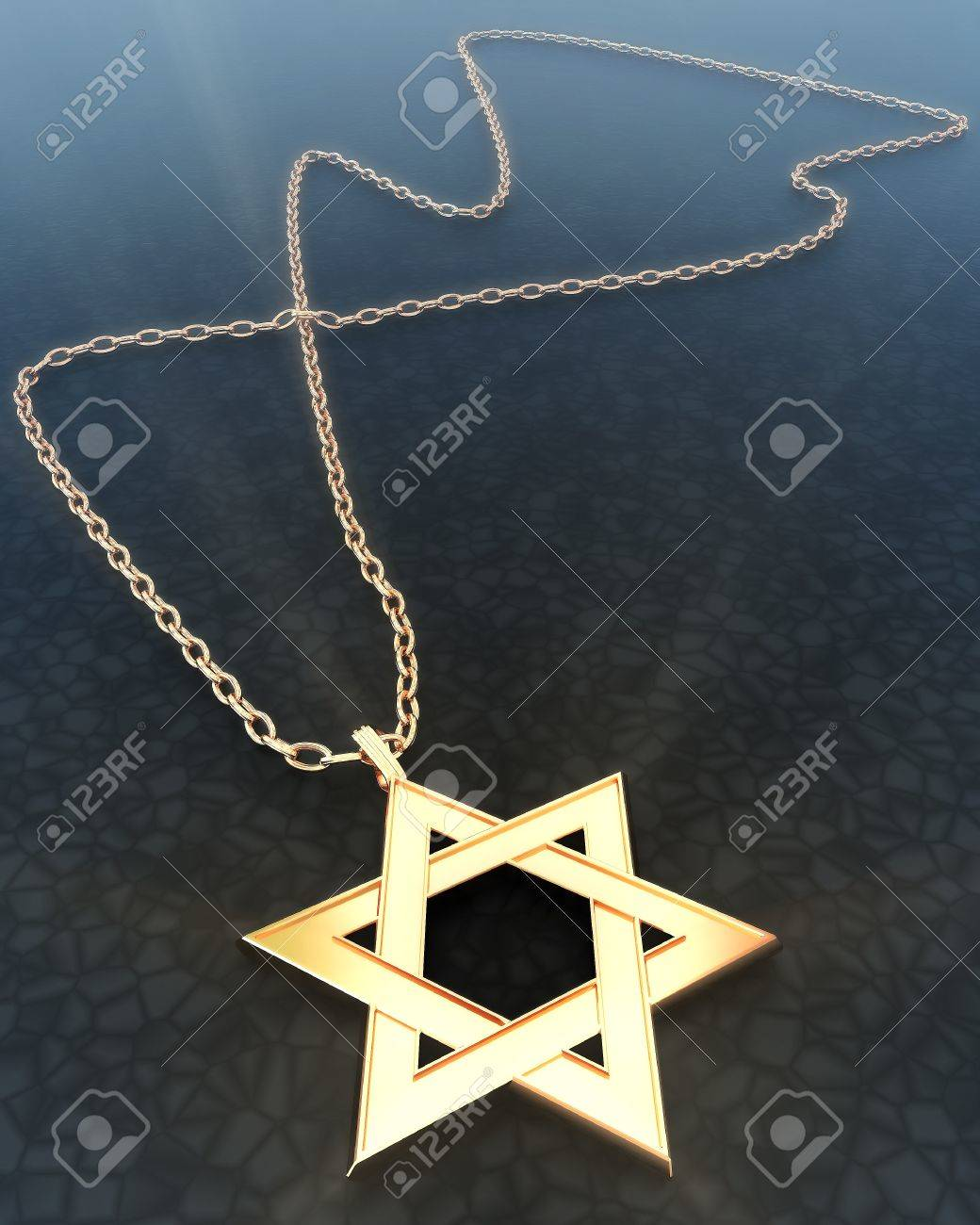 Golden star of David with a chain Stock Photo - 18124170