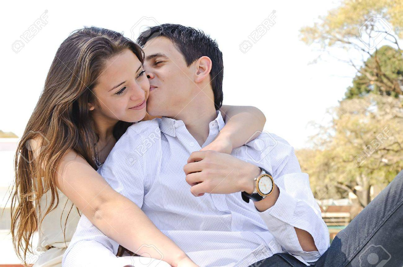 Portrait happy young teenage couple outdoor Stock Photo - 11849986