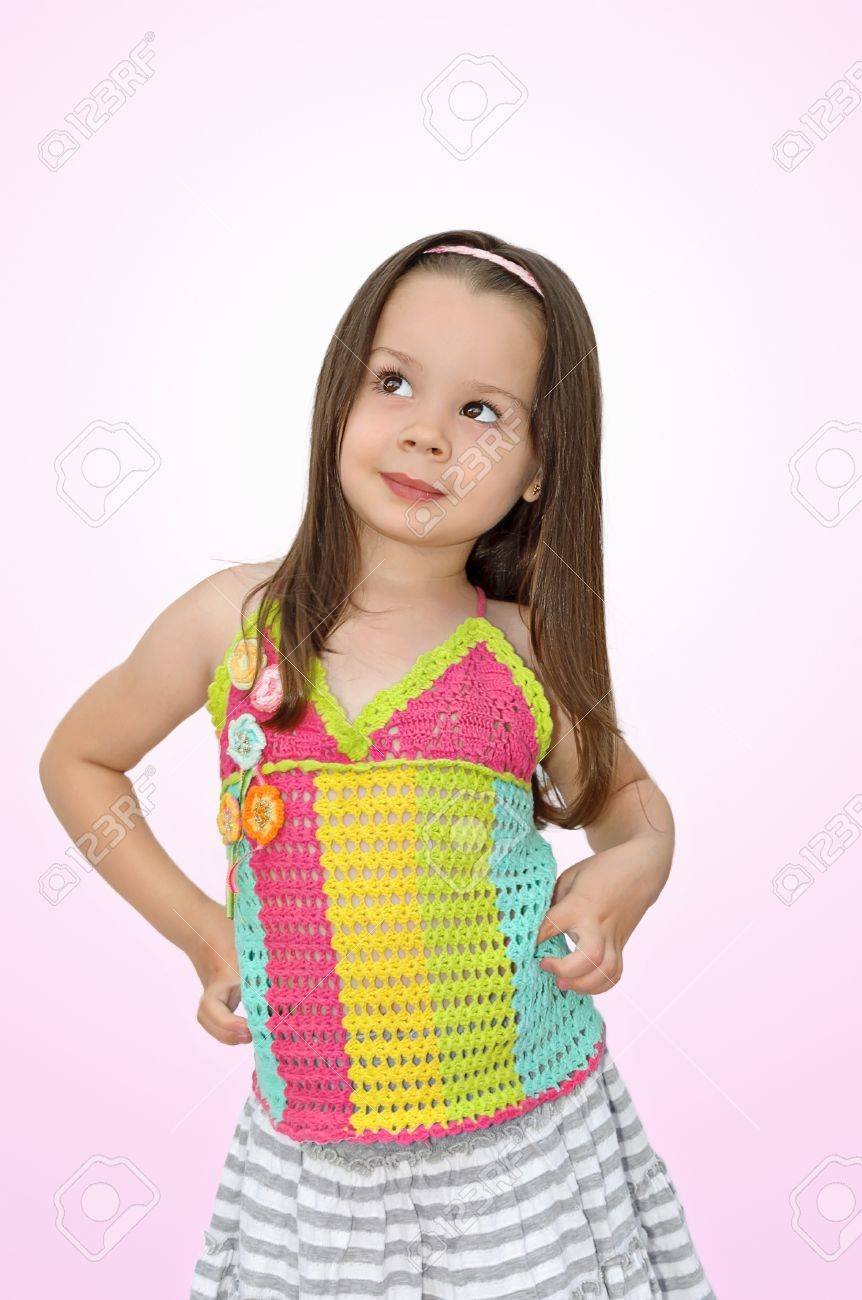 Beautiful Little Girl Posing for Camera in Studio Stock Photo - 11849795