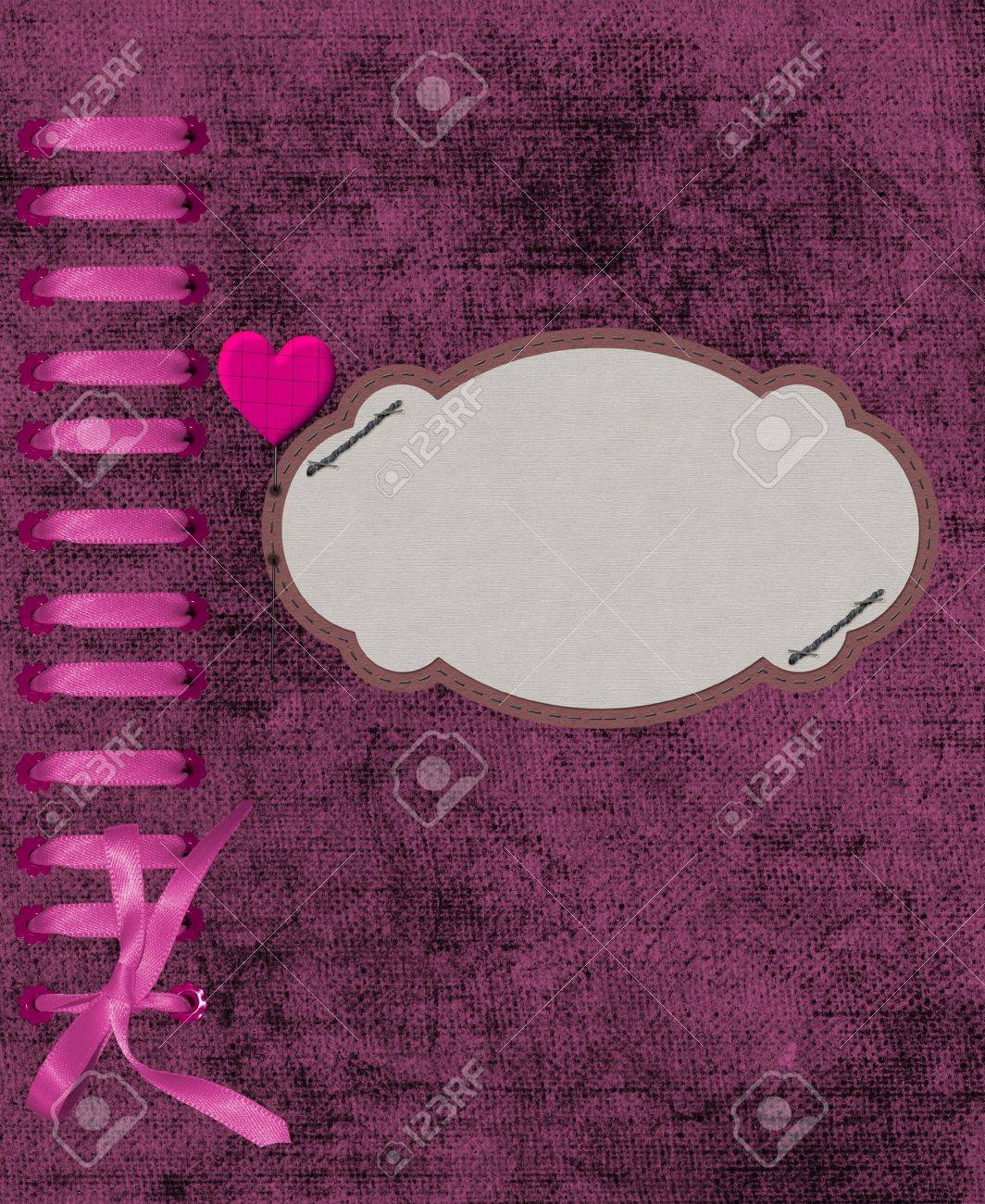 The frame for photos with a pink thread Stock Photo - 17095476
