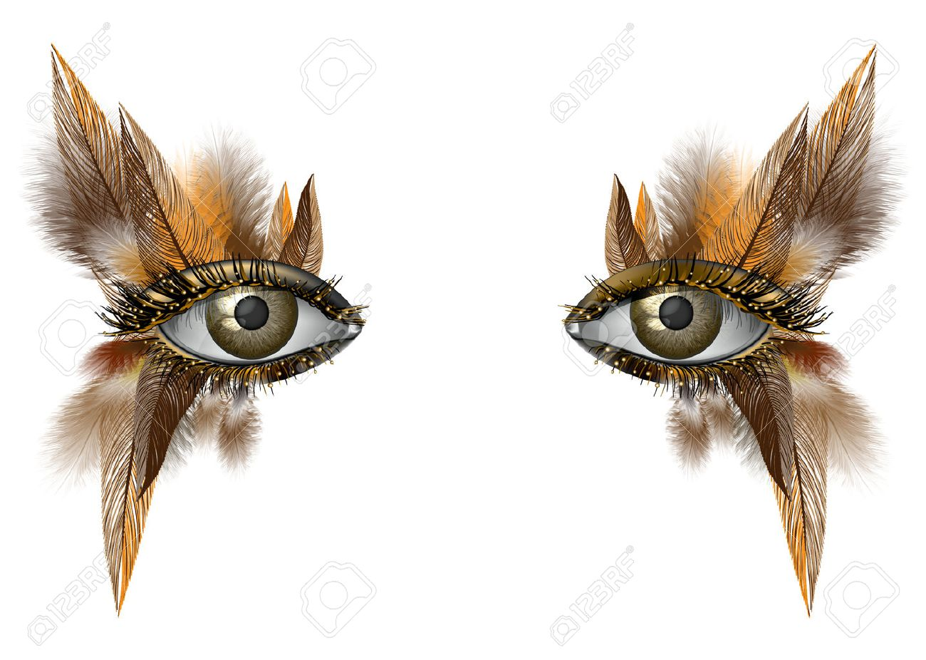 Realistic female eye close up artistic makeup – wild bird feather - 50698654