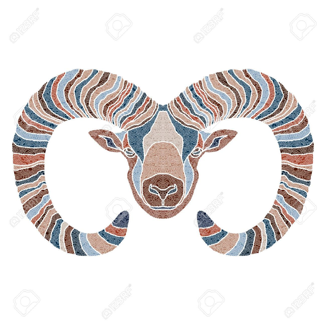 Bright patterned Ram, Aries sign for astrological predestination