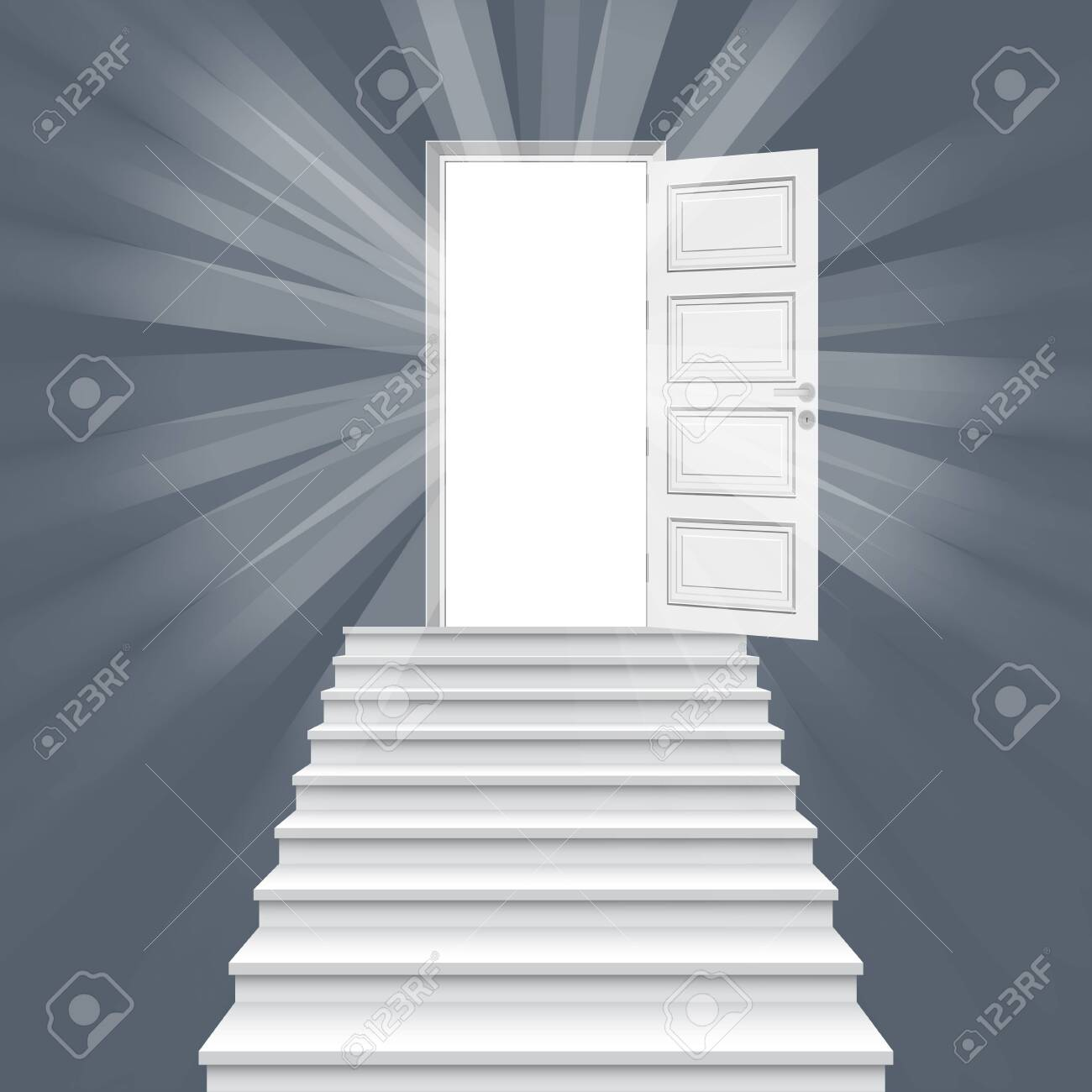 Straight stairway leading to open door vector illustration. - 121083978