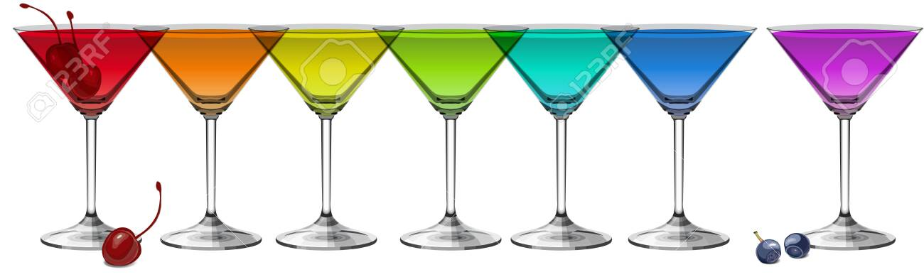Multicolored cocktails on white background panoramic vector illustration - 147227978