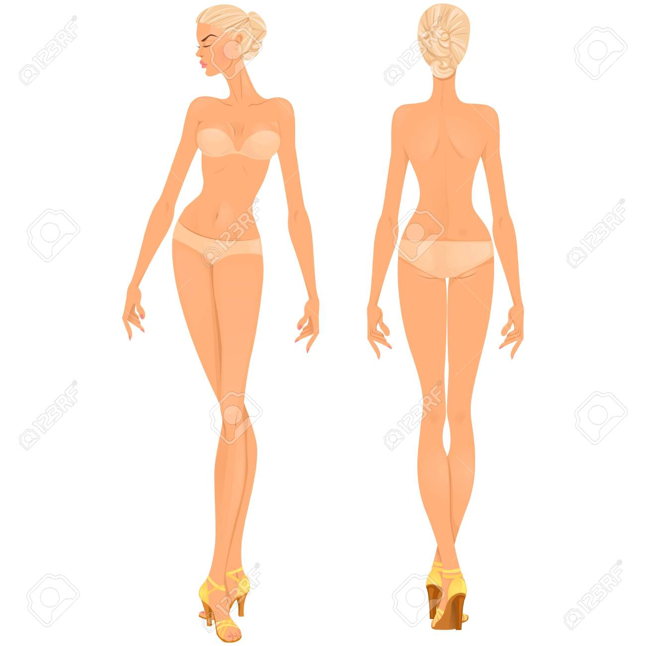 Beautiful young woman. Body template, front and back views for clothing design purposes or paper doll game. - 150361018