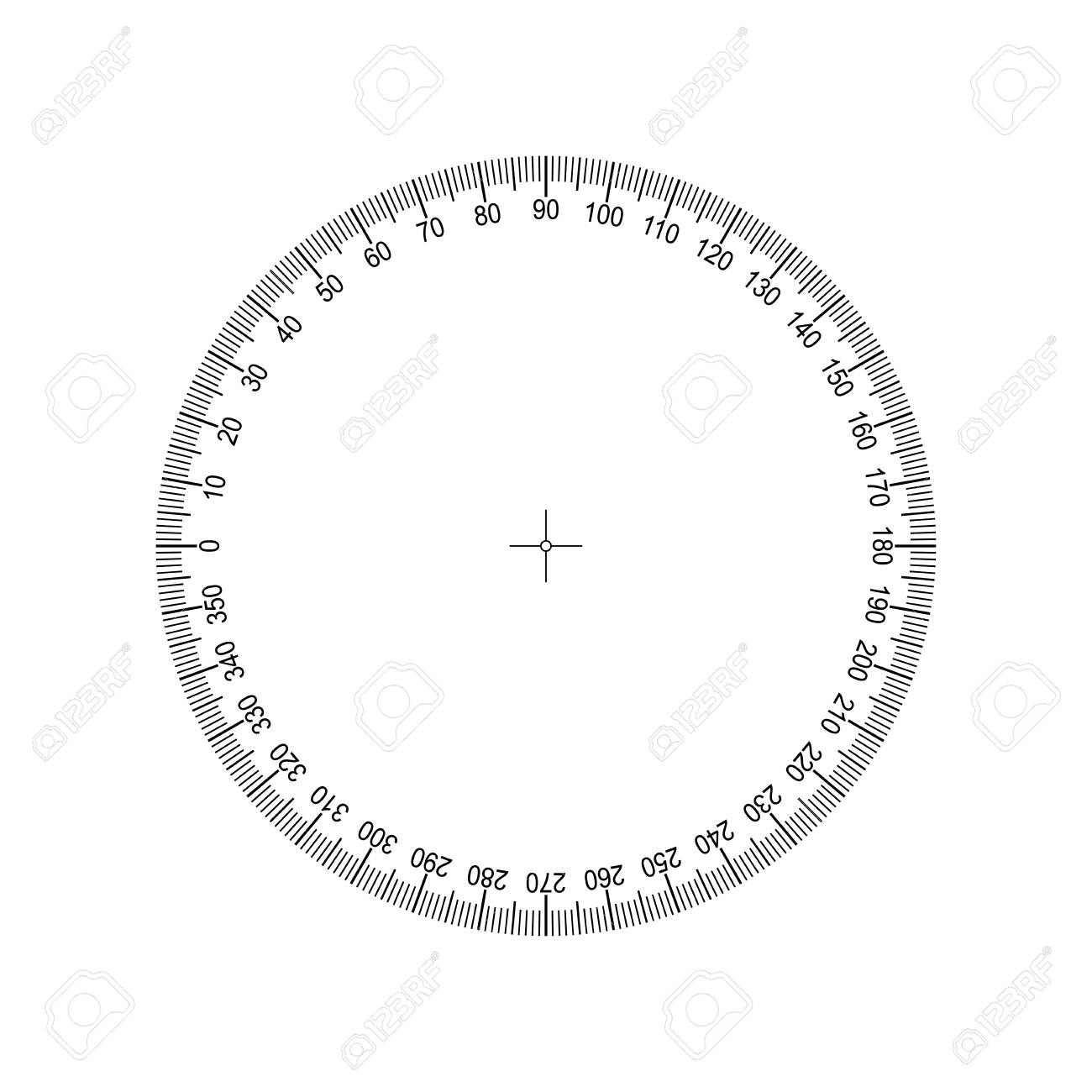 Protractor 360 degrees Measuring circle scale. Measuring round scale - 100980659