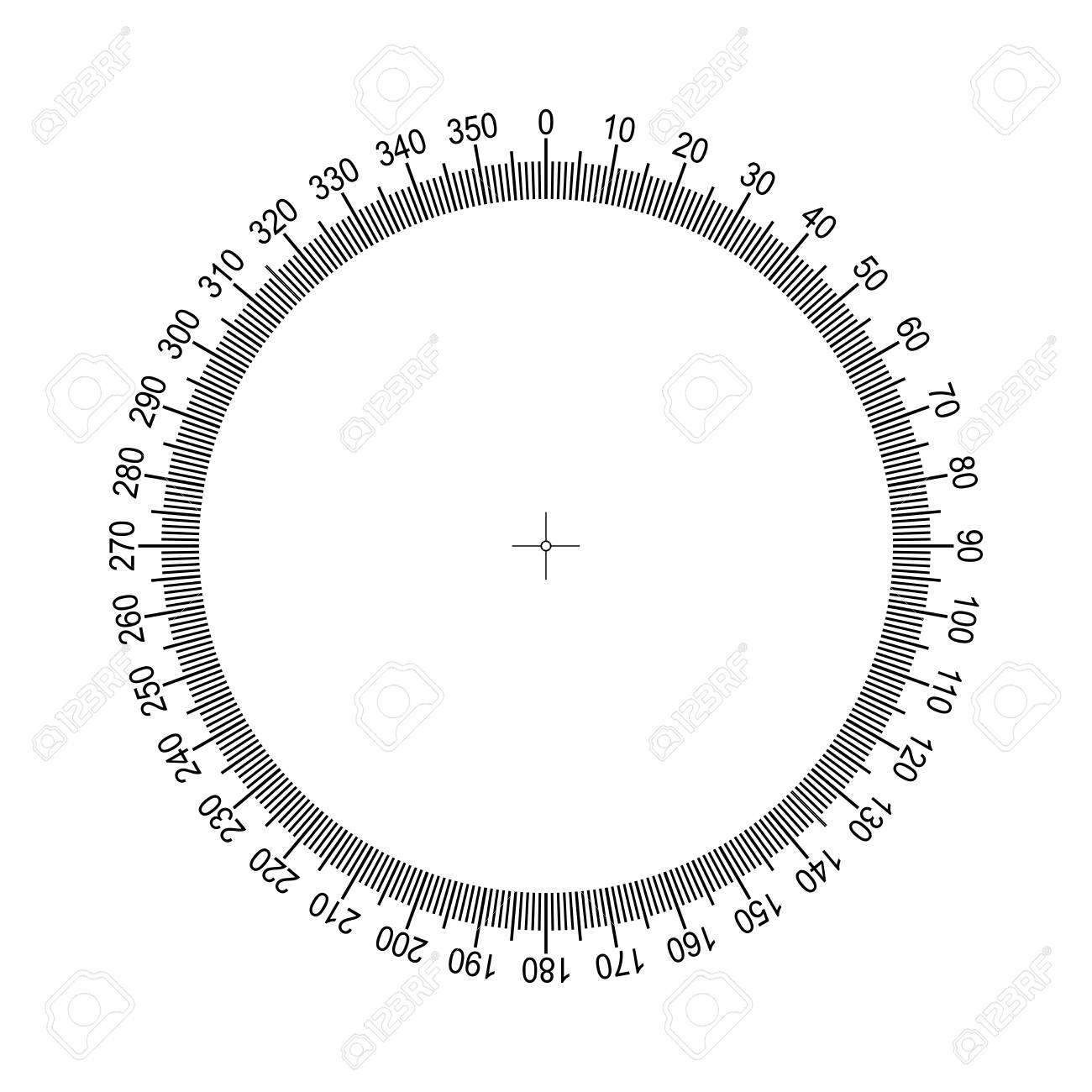 Measuring circle scale. Measuring round scale, Level indicator, measurement acceleration, circular meter for household appliances division from to 350. Graduation 360 degrees Vector EPS10 - 100980663