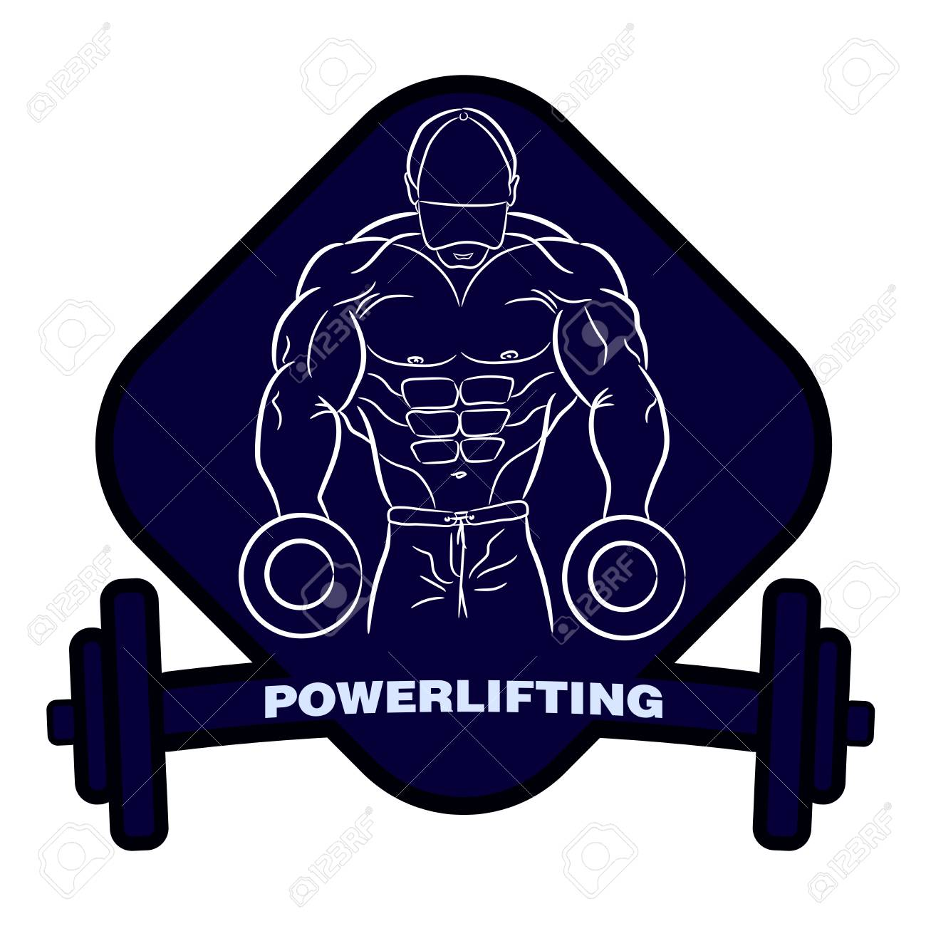 Muscular Bodybuilder With Dumbbells Strong Man Powerlifting