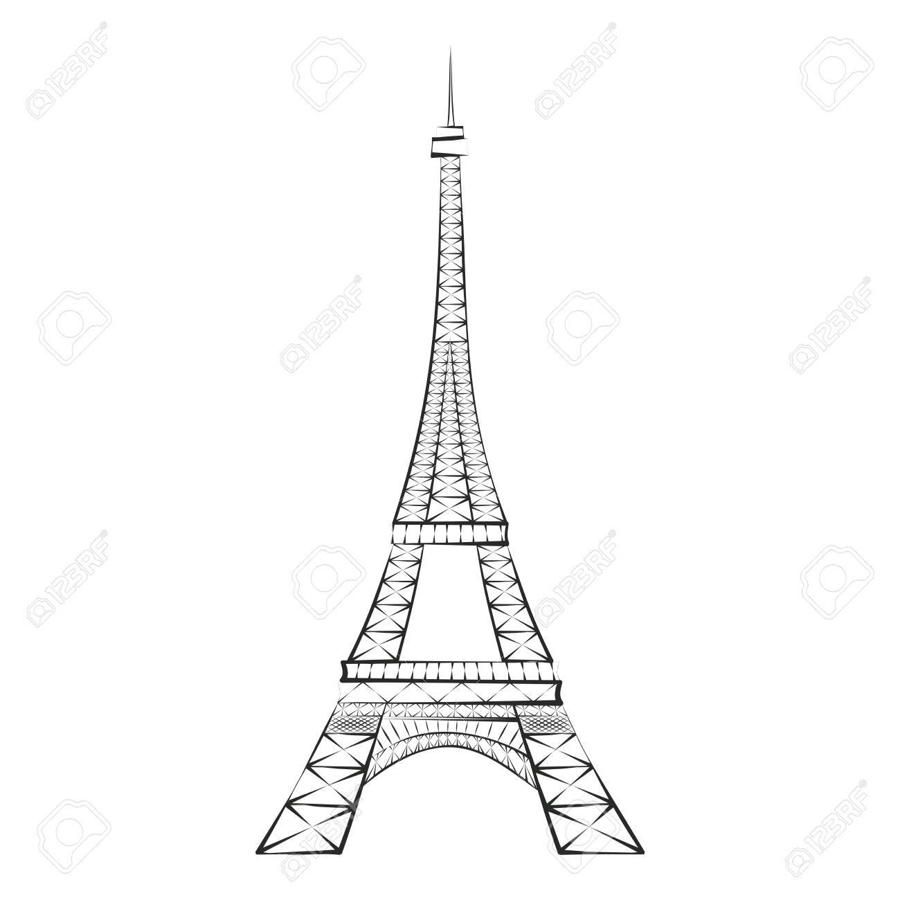 Black Silhouette Eiffel Tower Paris Isolated On White Background Royalty Free Cliparts Vectors And Stock Illustration Image 102330779