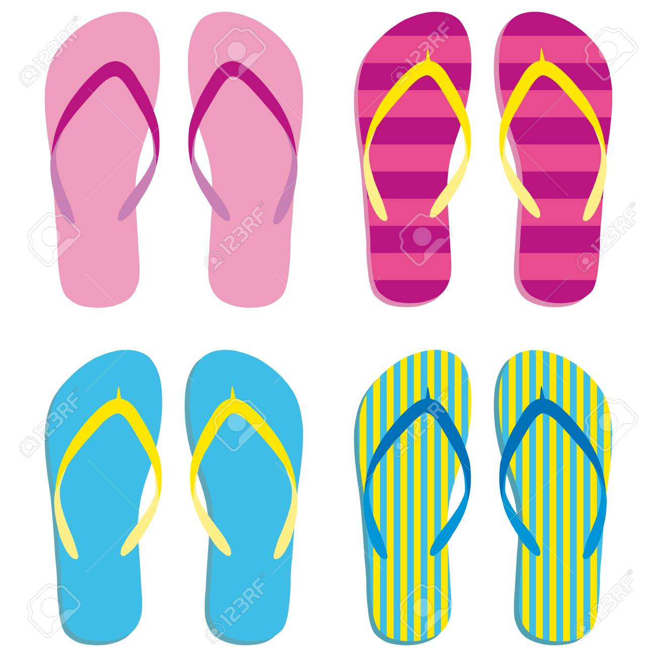 a7d6f929dc235 ... white background. Vector illustration. Colored flipflops set icon.  Slippers icon. Isolated blue