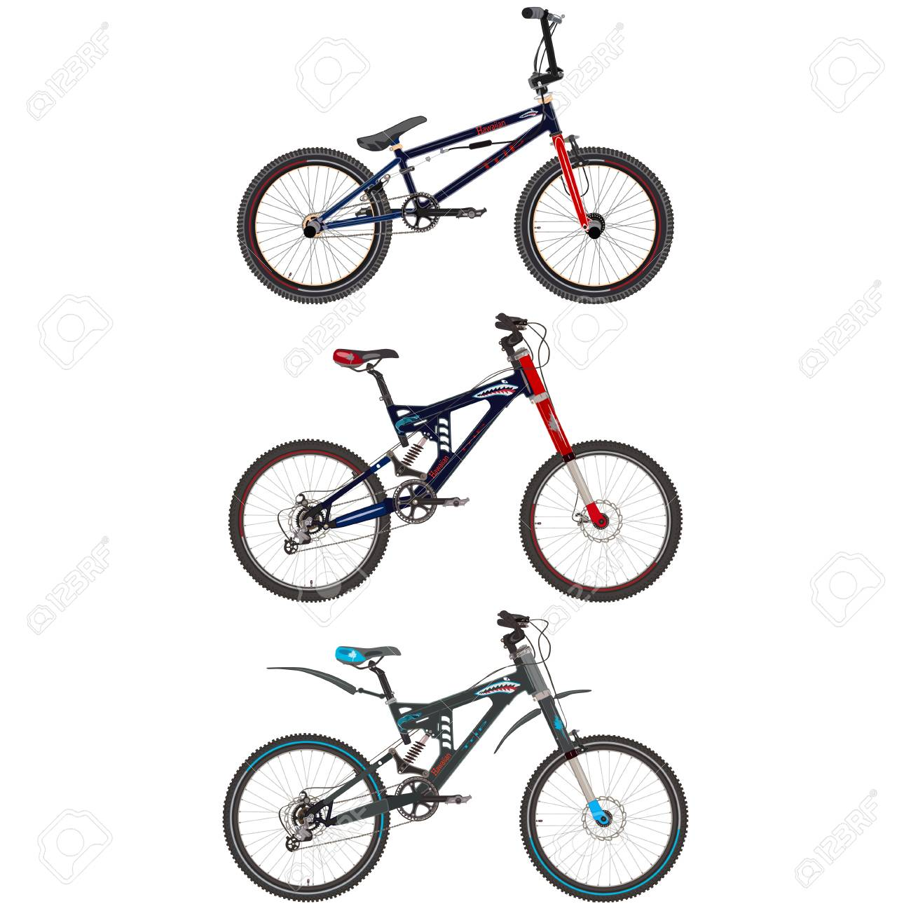 Vector Set Of Sport Bikes. Bmx And Mountain Bicycles Flat Style ...