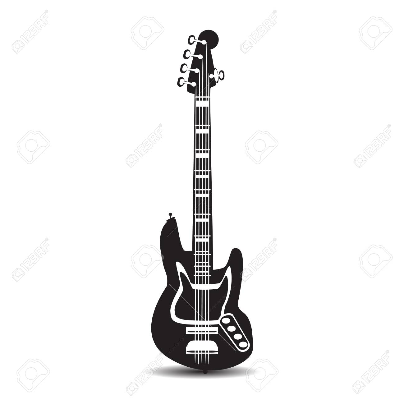 Black And White Electric Guitar Vector Illustration Of Bass