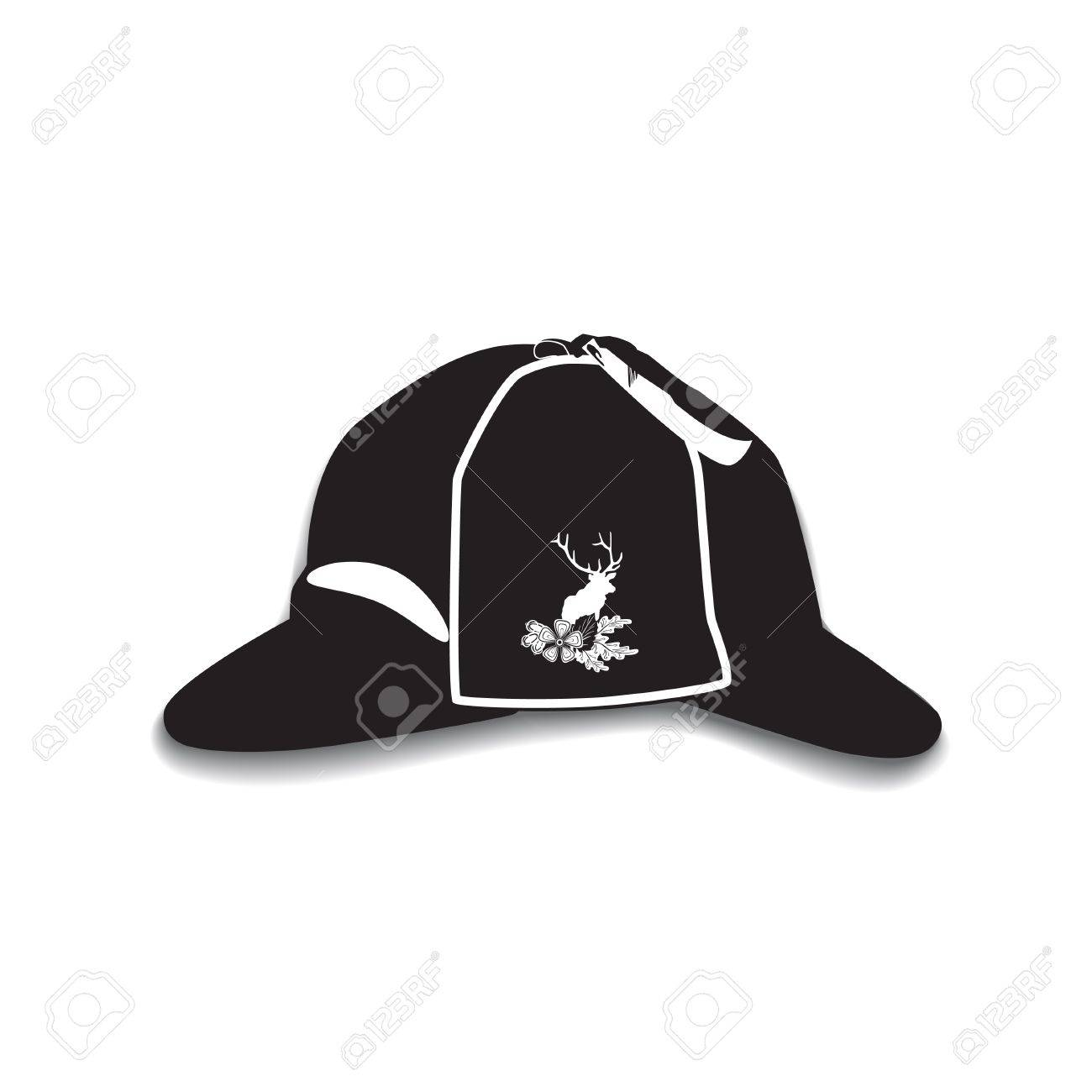 Vector - Vector illustration of detective sherlock holmes hat isolated on  white background. Black and white deerstalker hat with cloth badge deer  silhouette ... dbb1666474e