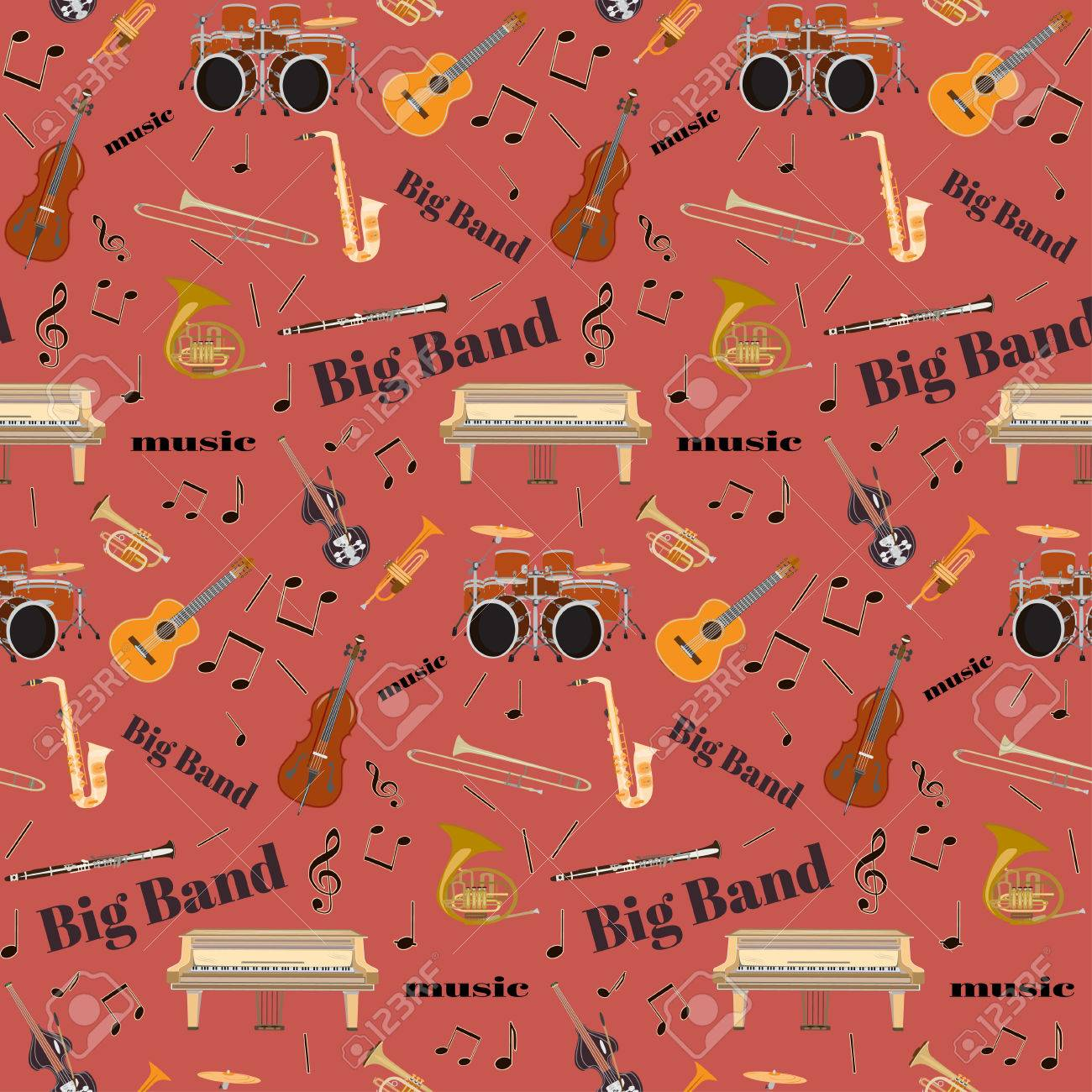 Vector seamless pattern with jazz big band musical instruments