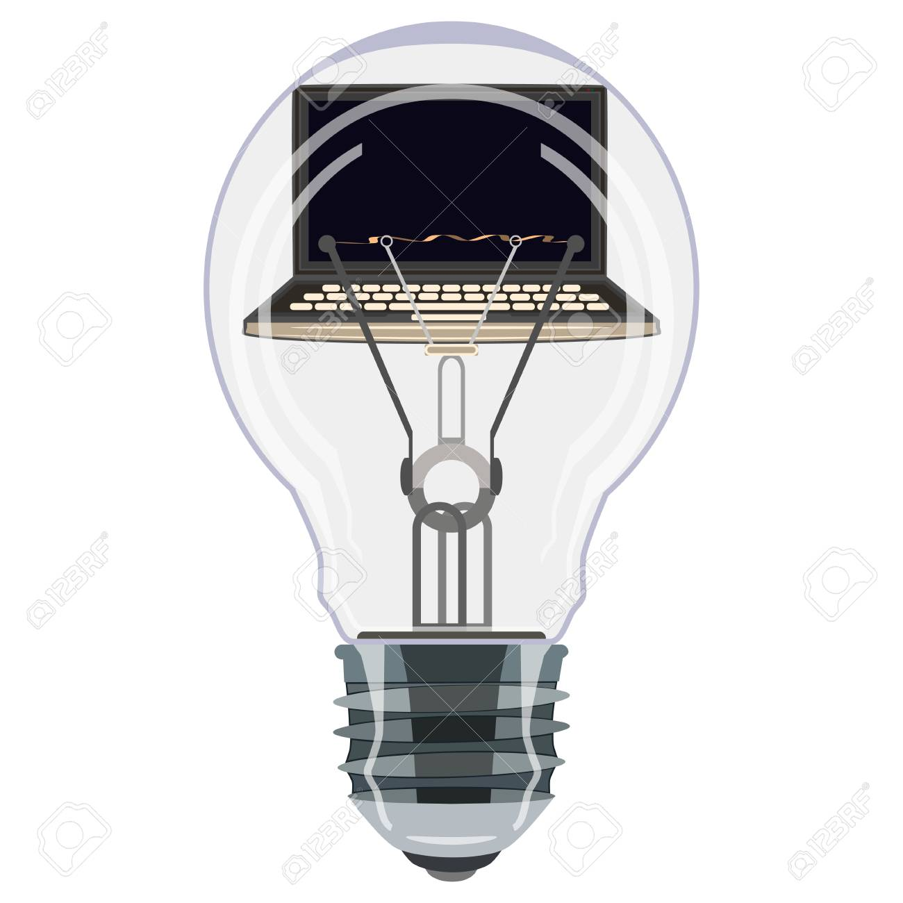 Laptop Inside Of Light Bulb Vector Illustration. Creative Idea, Software  Development, Computer And