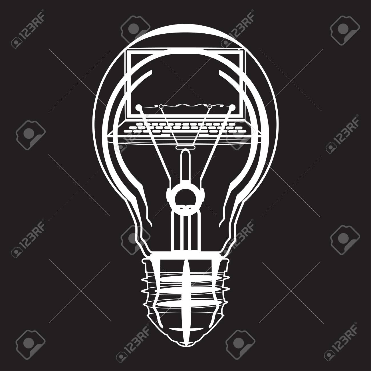 Marvelous Laptop Inside Of Light Bulb Black And White Vector Illustration. Creative  Idea, Software Development