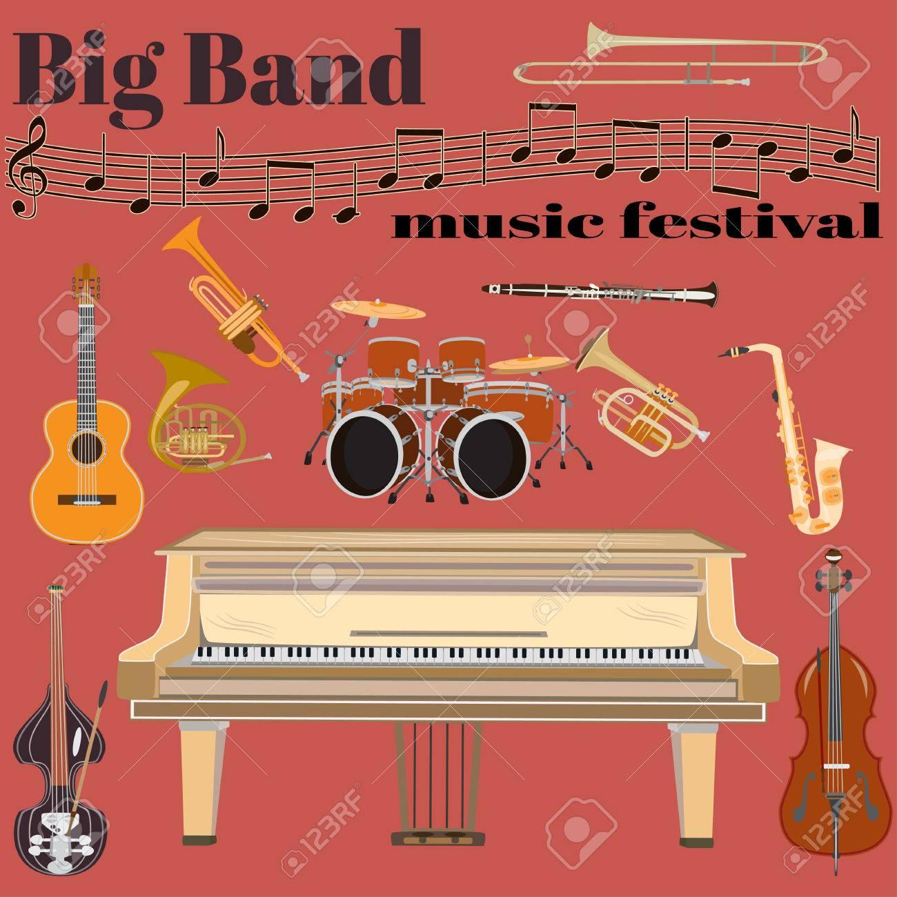 Set Of Jazz Band Musical Instruments Big Band Music Festival