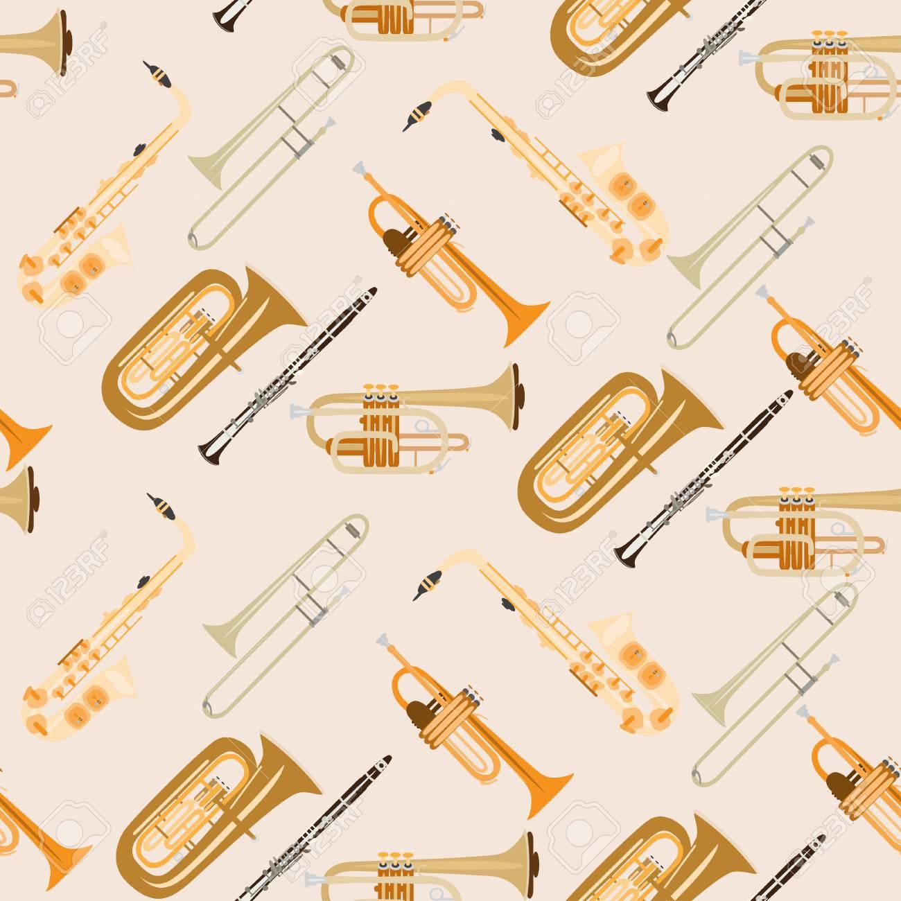 ベクトルの楽器とシームレスなパターン サックス クラリネット