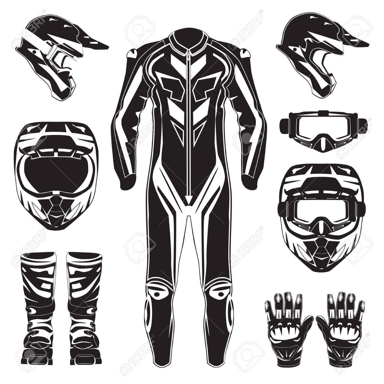 Motorcycle Riding Or Race Suit And Protective Gears Vector